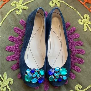 KATE SPADE NEW YORK Jeweled Suede Ballerina Flat